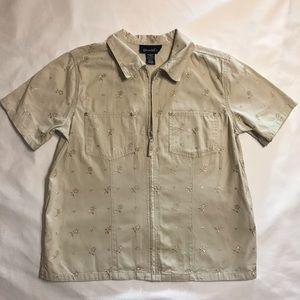 Denim Embroidered Short Sleeve Jean Jacket